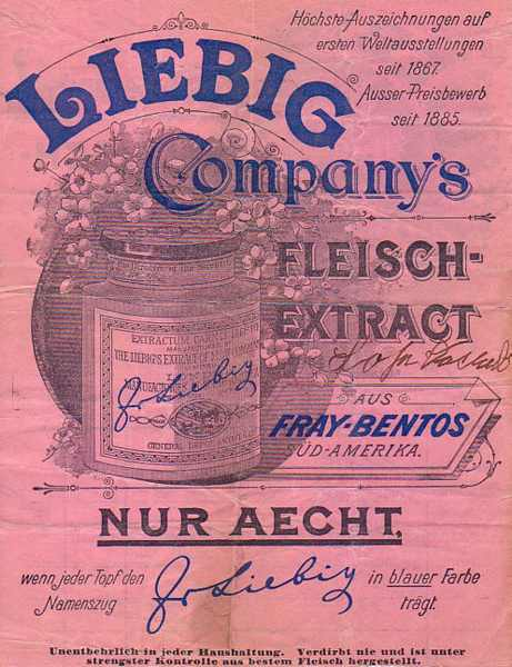 CC-PD-Mark, Liebig's Extract of Meat Company, PD-Art (PD-old) Lizens: Gemeinfrei via Wikimedia Commons